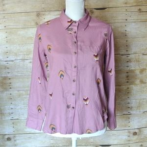NWT Anthropologie Embroidered Button Up Shirt Hot